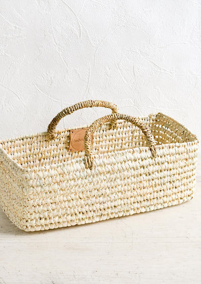 Palm Leaf Narrow Storage Basket