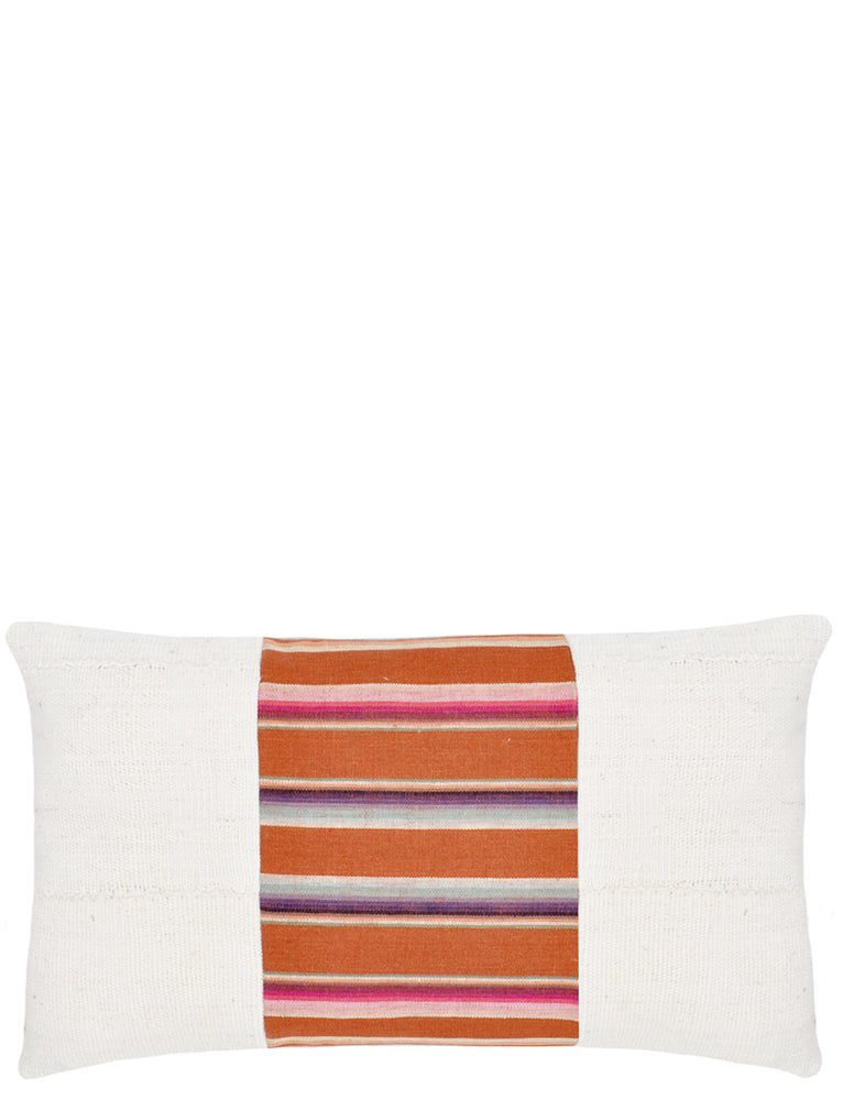 Rectangular throw pillow with plain ivory left and right sides, and striped center panel in earth tones.