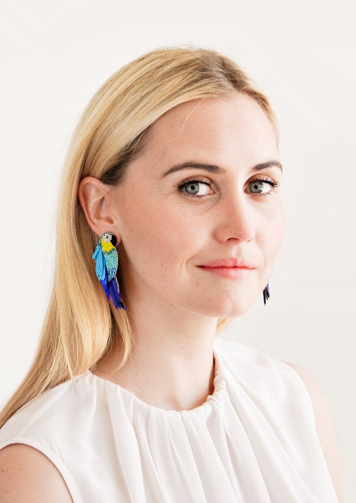 2: Parrot Beaded Earrings in  - LEIF