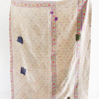 2: Reverse of Indian Kantha Quilt in Ivory - LEIF