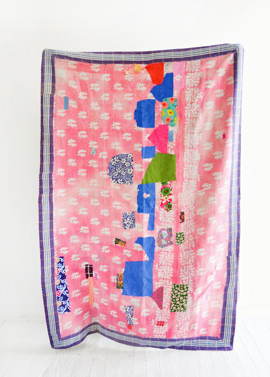 1: Vintage Patchwork Kantha Quilt in Pink Pattern with Blue Accents