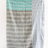 2: Vintage Patchwork Kantha Quilt in Grey, Aqua Blue Plaid - LEIF