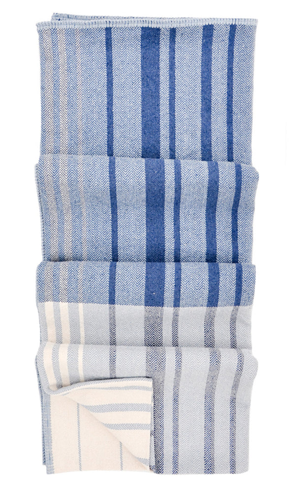 Blue Multi: Patchwork Stripe Blanket in Blue Multi - LEIF
