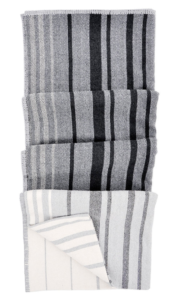 Patchwork Stripe Blanket in Charcoal Multi - LEIF