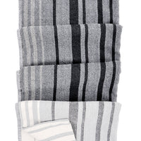 Charcoal Multi: Patchwork Stripe Blanket in Charcoal Multi - LEIF