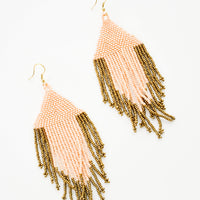 1: Dangling earrings with peach and gold beaded fringe.