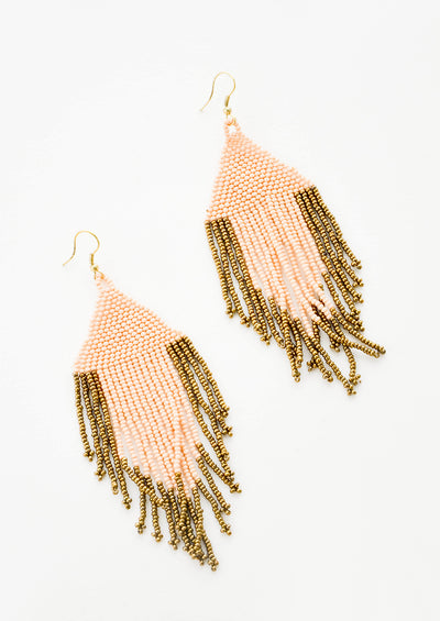 Peach Fringe Beaded Earrings