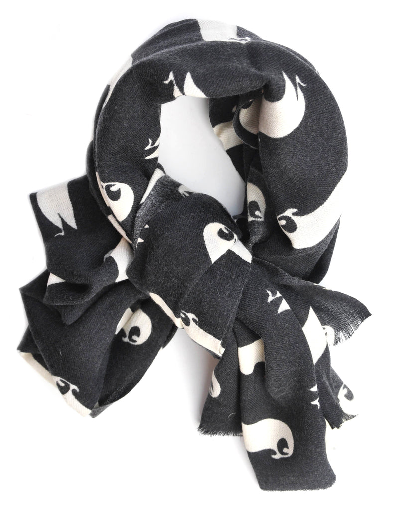 Penguin Print Wool Scarf - LEIF