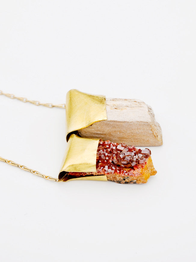 Petrified Wood & Vanadinite Necklace - LEIF