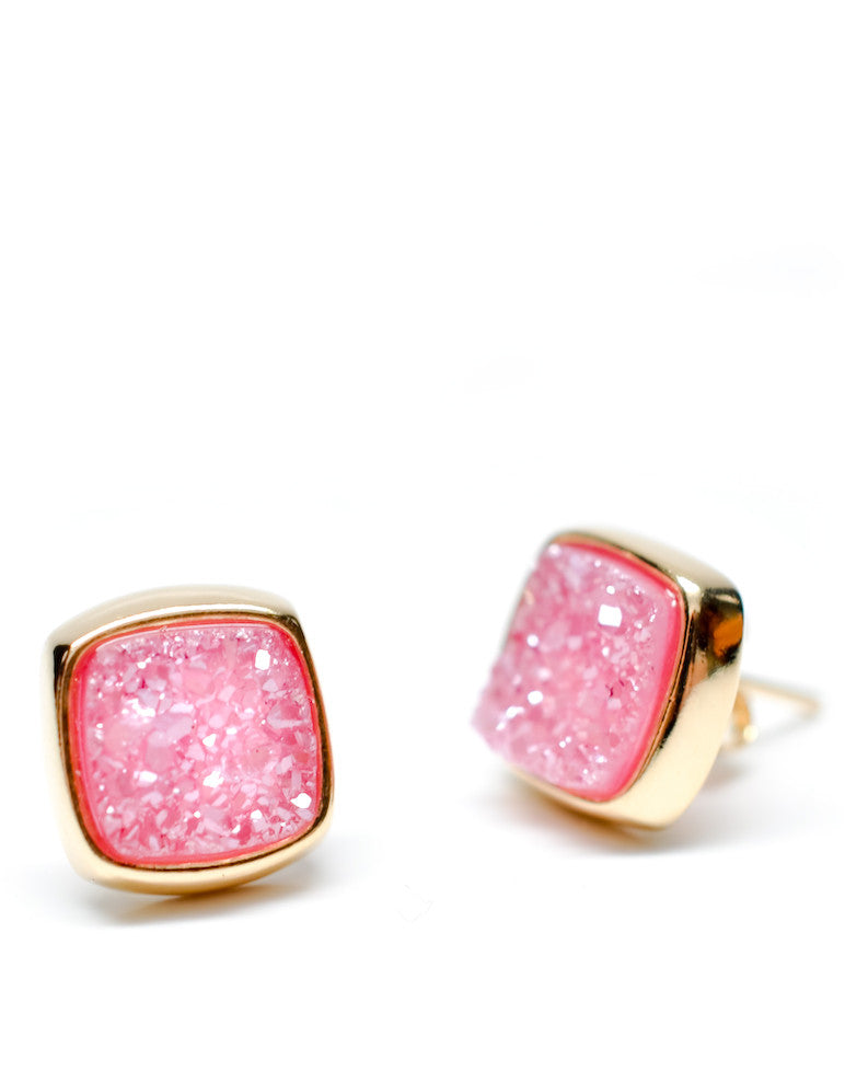 Pink Drusy Square Stud Earrings - LEIF