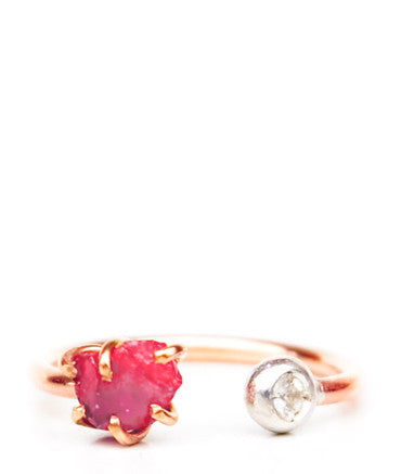 Pink Spinel & White Sapphire Ring - LEIF
