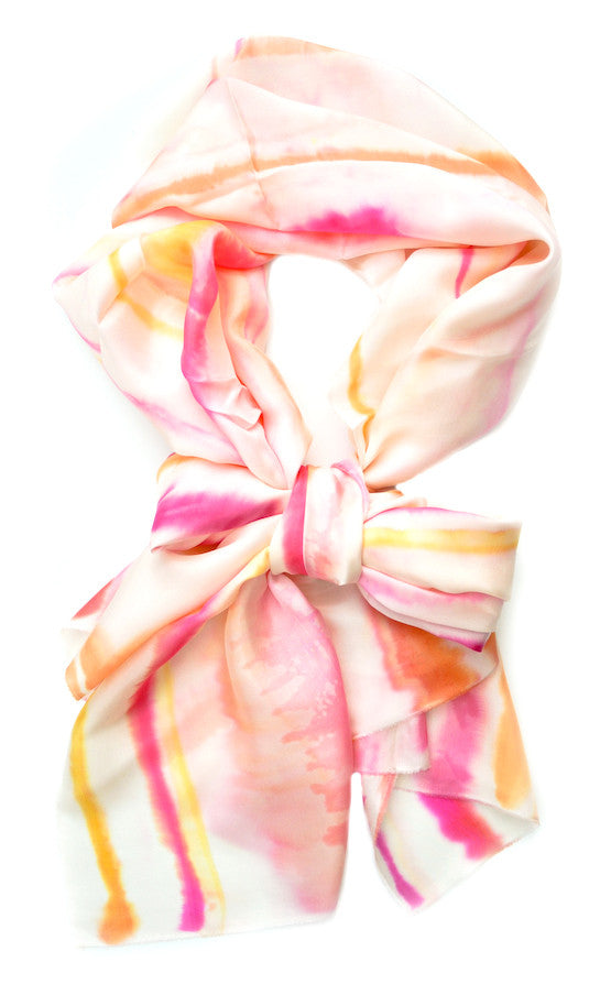 Watercolor Stripe Scarf in Grapefruit - LEIF