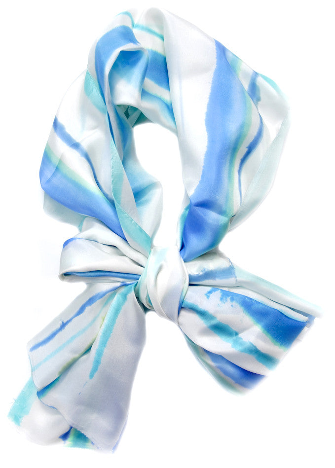 Watercolor Stripe Scarf in Caicos