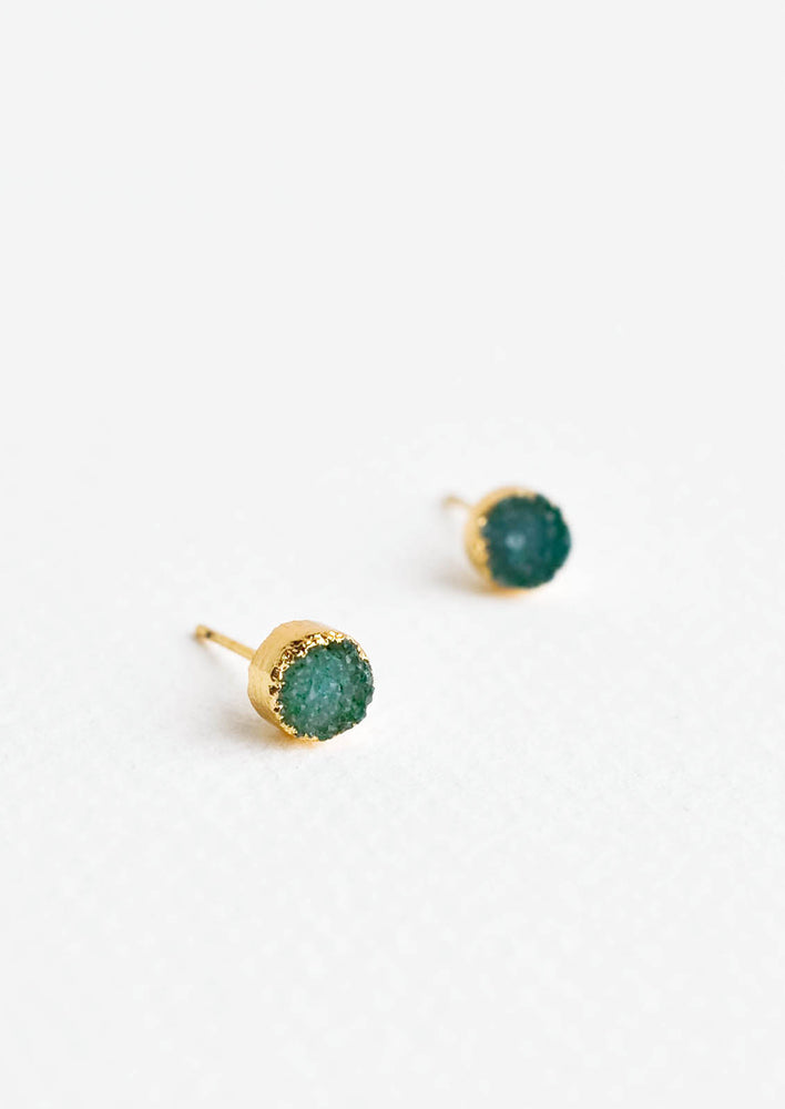 Uranus: Textured green gemstone studs with gold surround.