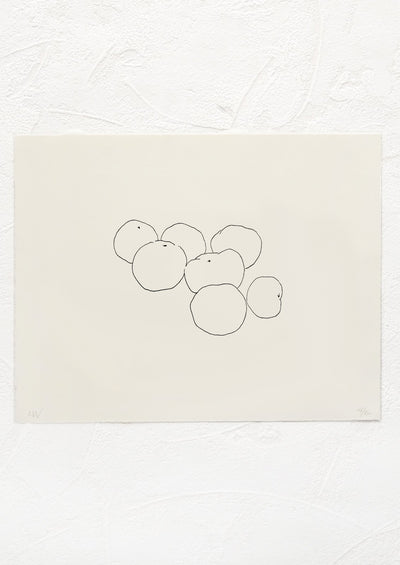 A black and white letterpressed art print with silhouetted line drawing of plum tomatoes in a pile.