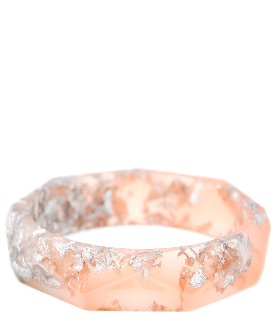 Polygon Bangle in Grapefruit & Silver