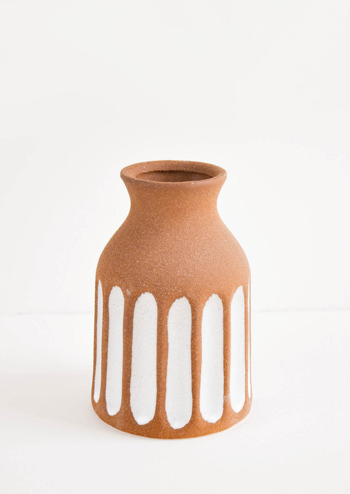 1: Brown Unglazed Ceramic Vase with Contrasting Vertical Stripe Detailing in White