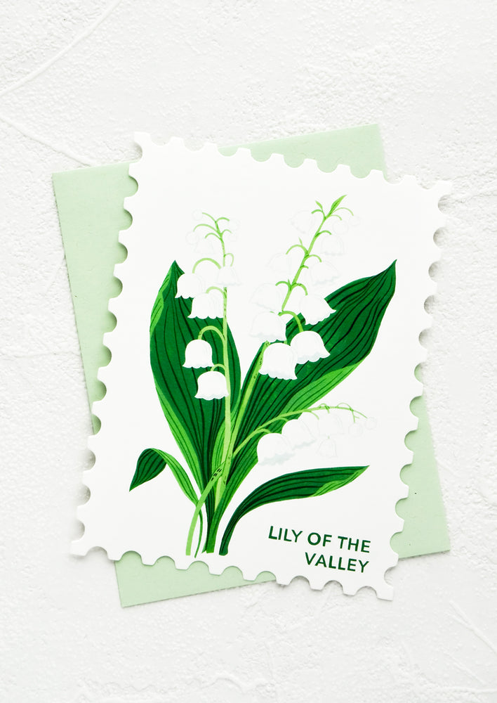 Lily of the Valley: Diecut greeting card in the shape of a postage stamp, printed graphic of Lily of the Valley floral.