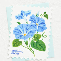 Morning Glory: Diecut greeting card in the shape of a postage stamp, printed graphic of Morning Glory floral.