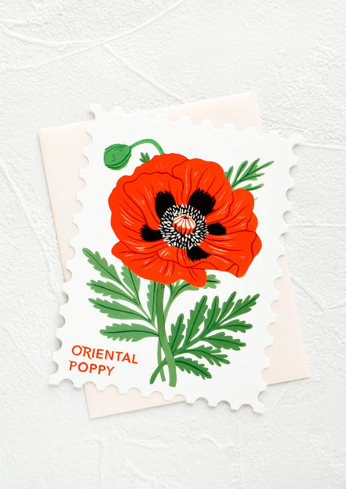 Oriental Poppy: Diecut greeting card in the shape of a postage stamp, printed graphic of Oriental Poppy floral.