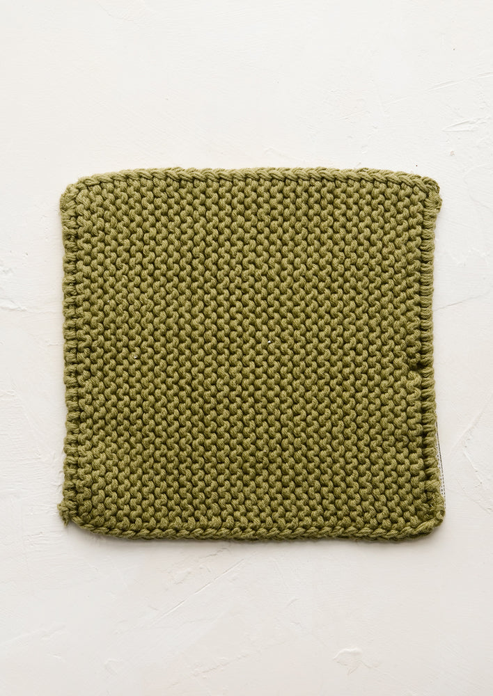 Olive: A square, chunky knit cotton potholder in olive green.