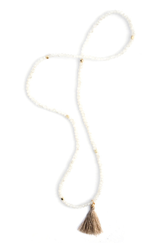 Prism Pebble Tassel Wrap in White Sand - LEIF