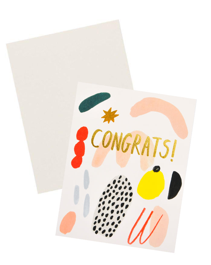 "3: Notecard with colorful abstract shapes and the word ""Congrats"" in gold, and white envelope."
