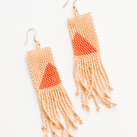 1: Long rectangular fringe beaded earrings in peach with orange triangle designs.