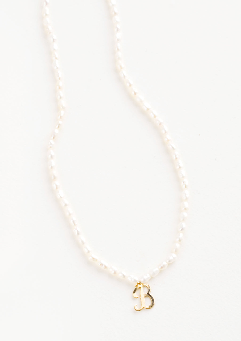B: Quincy Pearl Initial Necklace