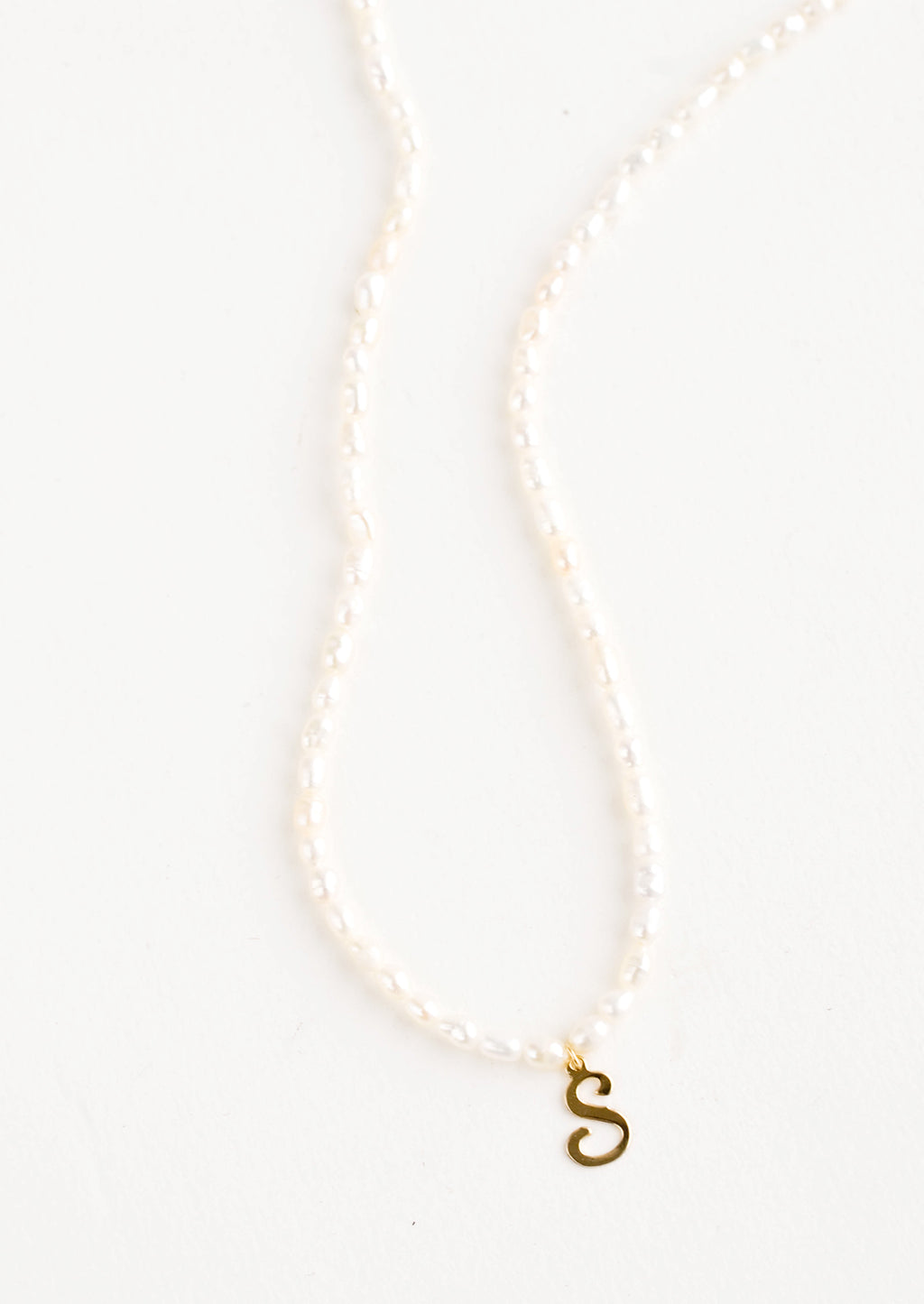 S: Quincy Pearl Initial Necklace