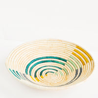 Emerald Multi: Radiant Rays Raffia Basket in Emerald Multi - LEIF