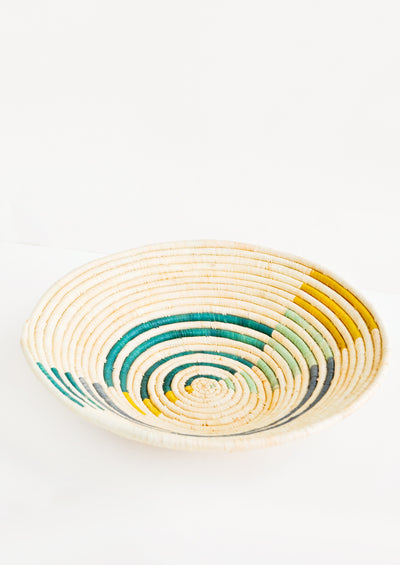 Radiant Rays Raffia Basket in Emerald Multi - LEIF
