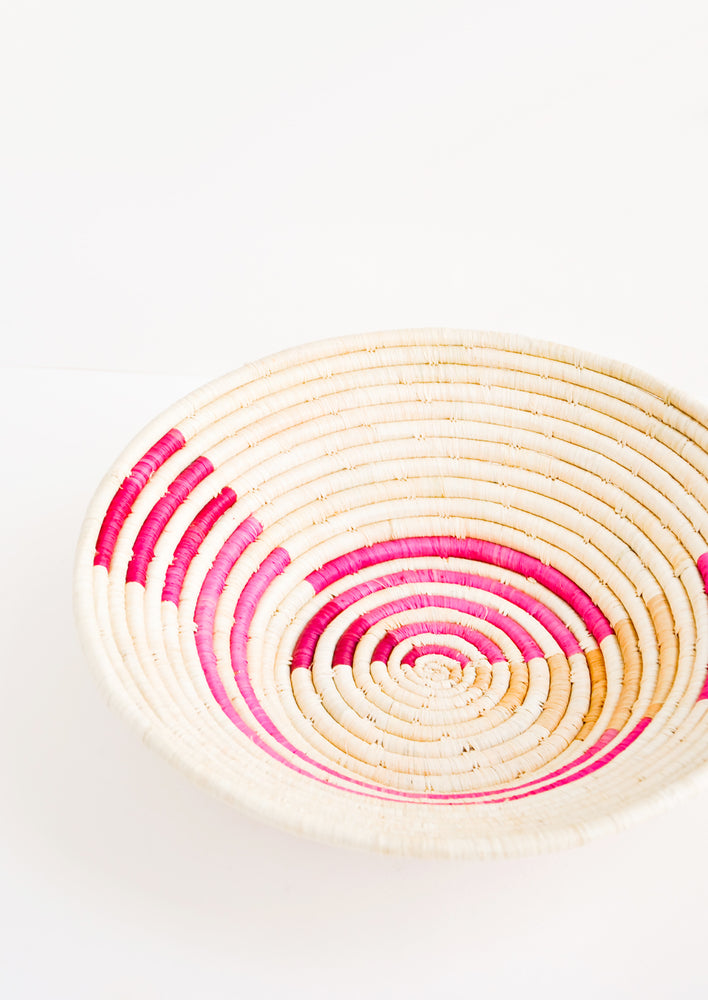 Pink Multi: Radiant Rays Raffia Basket in Pink Multi - LEIF