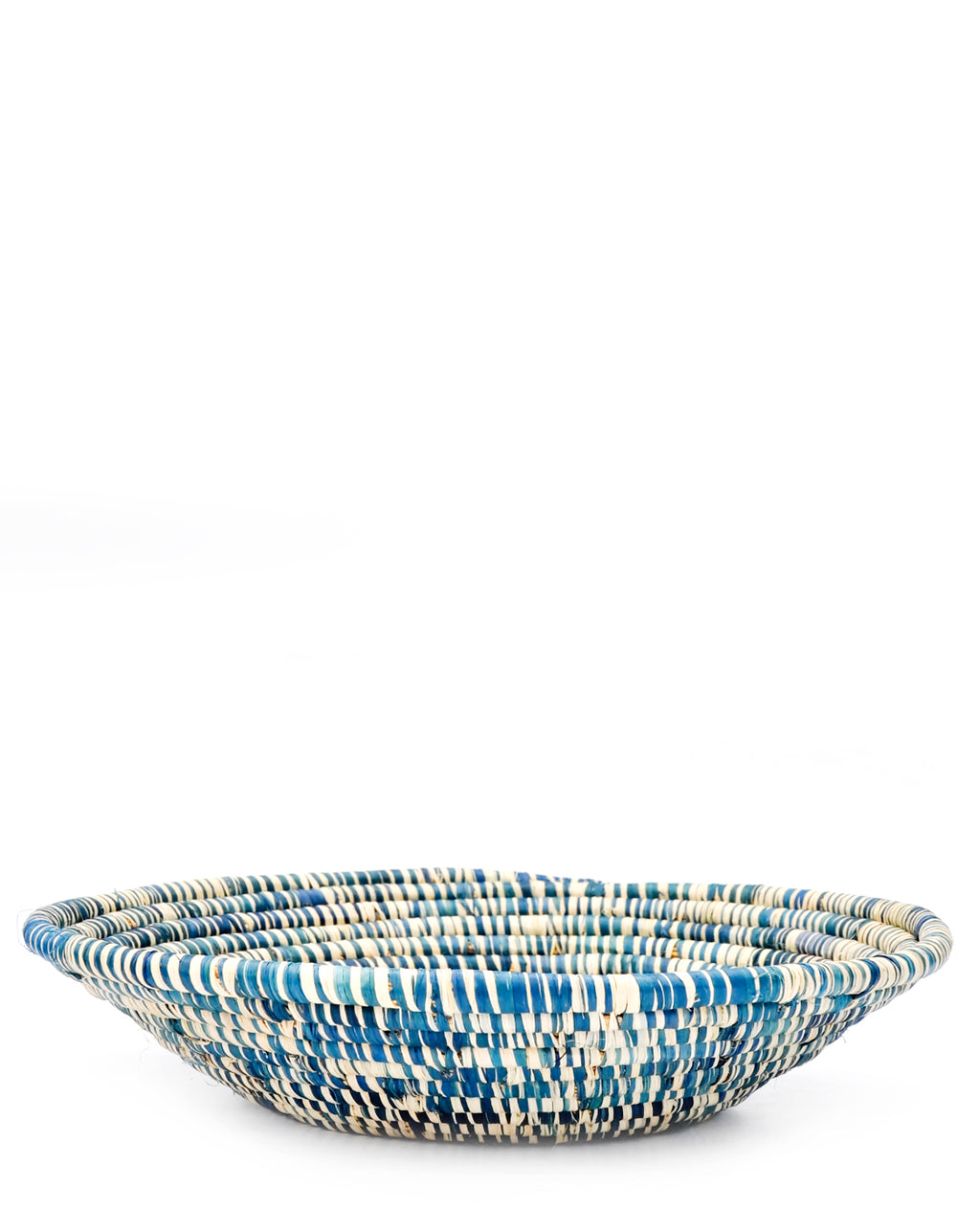 Cerulean / Natural: Raffia Fruit Basket in Cerulean / Natural - LEIF
