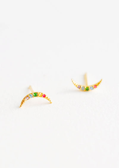 Moon-shaped stud earrings featuring inset multicolored crystals.