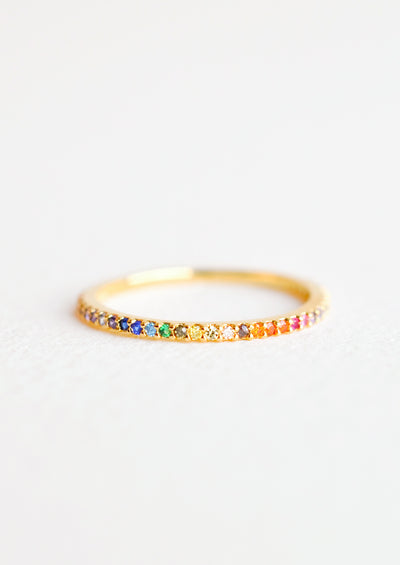 Gold band ring with rainbow gradient rhinestones all the way around