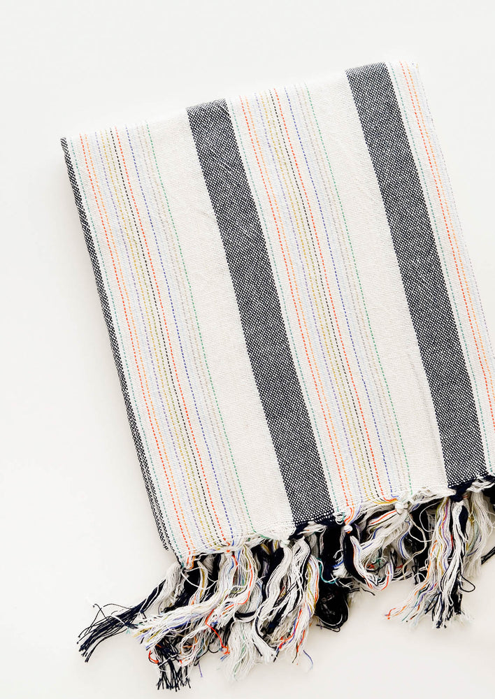 Cotton Turkish Towel in Natural & Charcoal with Rainbow Colored Stitching and Fringed Tassel Trim