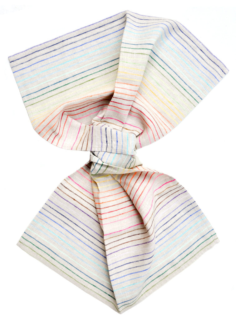 Rainbow Stripe Linen Hand Towel