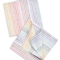 1: Rainbow Stripe Linen Napkin Set in  - LEIF