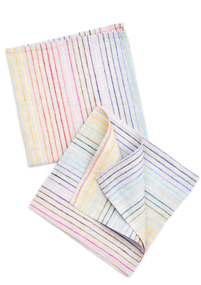 Rainbow Stripe Linen Napkin Set