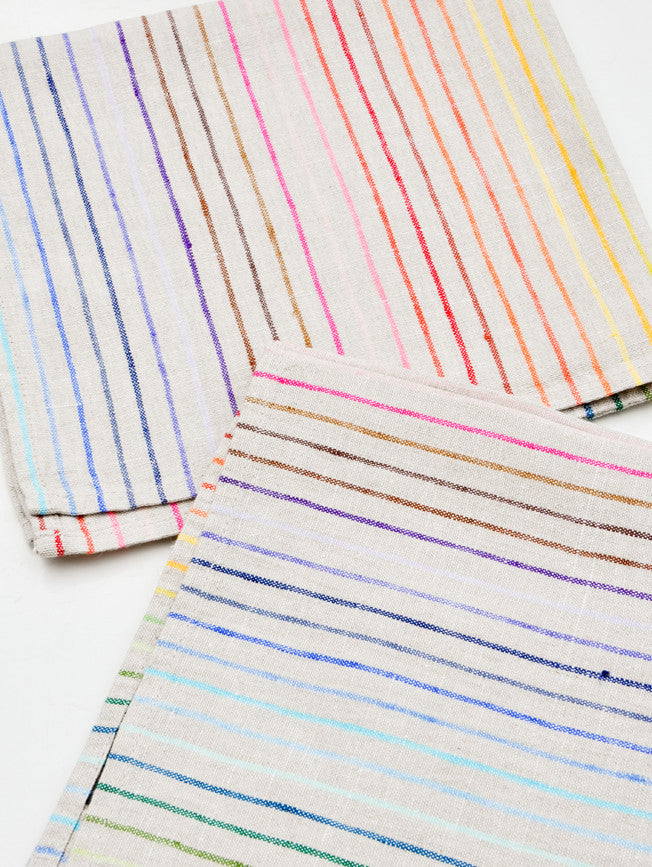 2: Rainbow Stripe Linen Napkin Set in  - LEIF