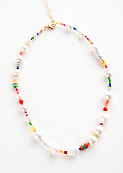 Rainbow Pearl Beaded Necklace