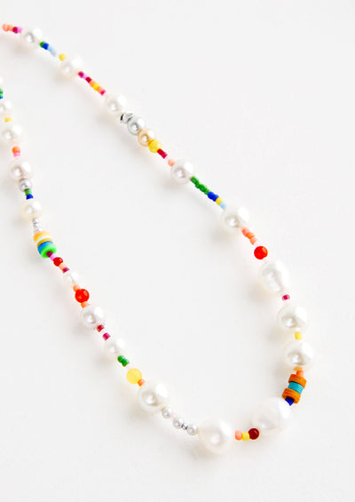 Rainbow Pearl Beaded Necklace hover