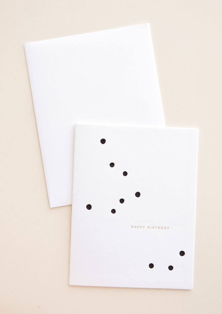 "1: White greeting card with randomly scattered dots and small golden text reads ""Happy Birthday"""
