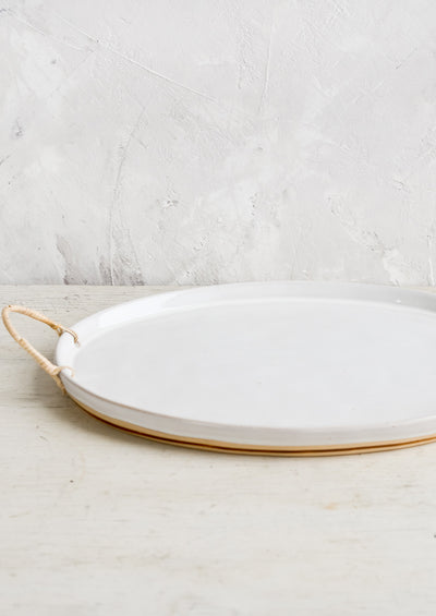 Rattan Wrapped Ceramic Platter hover