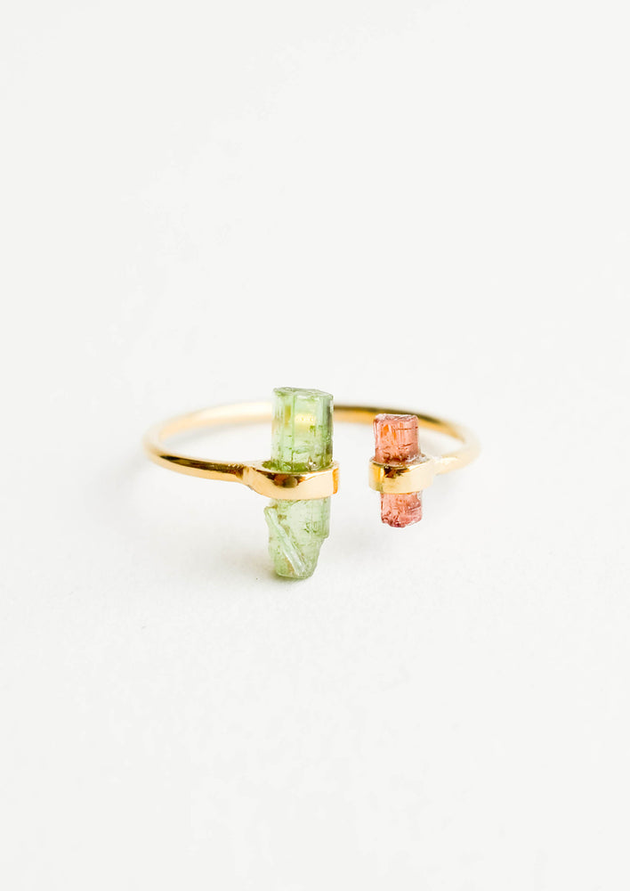 1: Adjustable yellow gold ring with opening at front, and pink and green tourmaline crystals at each side of opening.