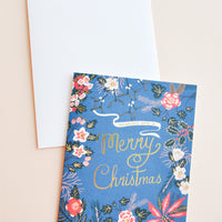 Blue Poinsettia Christmas Card