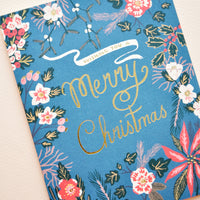 1: Blue Poinsettia Christmas Card in  - LEIF