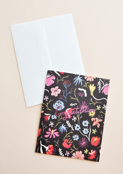 Night Floral Congratulations Card