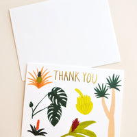 1: Thank you notecard with various colorful tropical plants decoration, with white envelope.